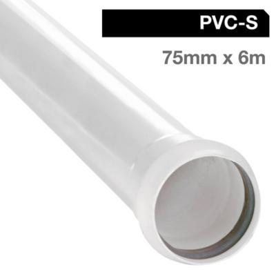 Tubo PVC sanitario blanco con goma 75 mm 6m