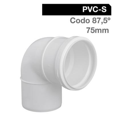 Codo PVC con goma 75 mm