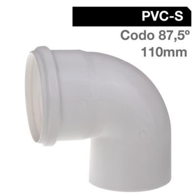 Codo 87,5o PVC-S Bco c/goma 110mm Blanco 1u