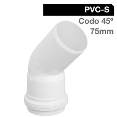 Codo 45o PVC-S Bco c/goma 75mm Blanco 1u