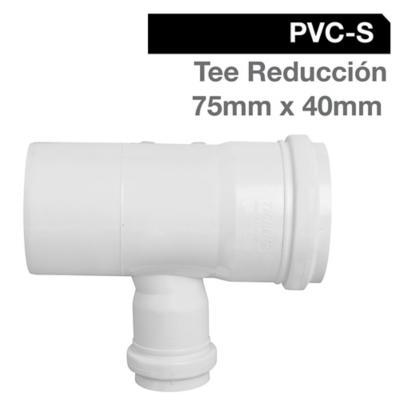 Tee Reducción PVC-S Bco c/goma 75mm x 40mm Blanco 1u