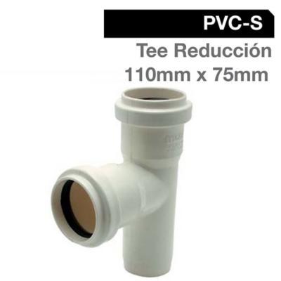Tee Reducción PVC-S Bco c/goma 110mm x 75mm Blanco 1u