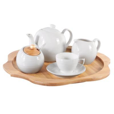 Juego de té 4 personas blanco
