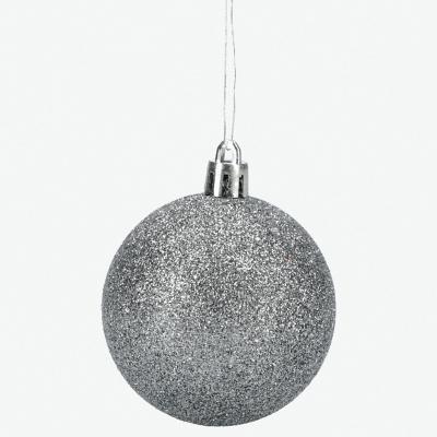 Esferas 4 cm plata escarcha x24