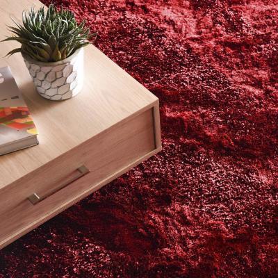 Alfombra shaggy ondas 120x170 cm rojo