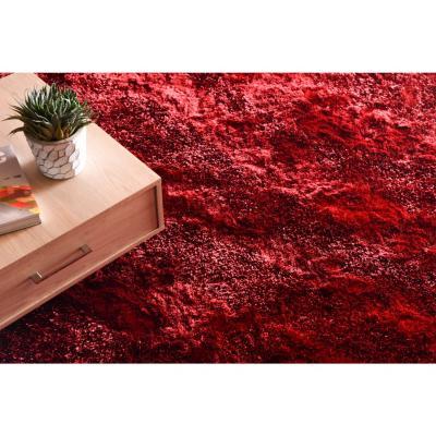 Alfombra Shaggy Ondas 160x230 cm rojo
