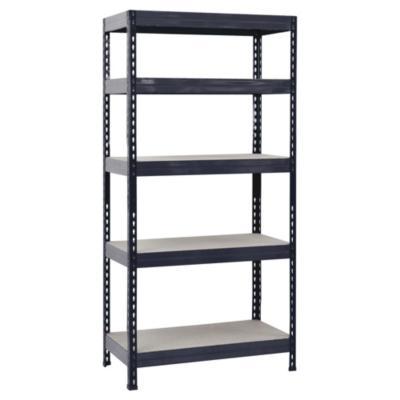 Estantería metal/madera negra 176x90x40 cm