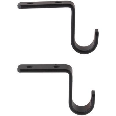 Set de soportes para barra de cortina 16 mm 2 unidades negro