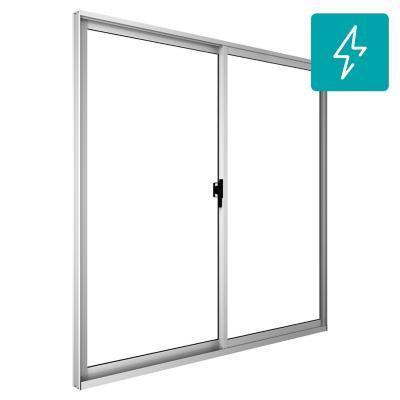 Ventana corredera aluminio intermedio termopanel 100x100 cm blanco