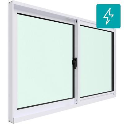 Ventana corredera aluminio intermedio termopanel 100x60 cm blanco
