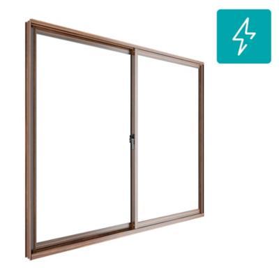 Ventana corredera aluminio intermedio termopanel 121x100 cm madera