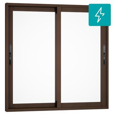 Ventana corredera aluminio premiun termopanel 2 hojas 60x60 cm madera