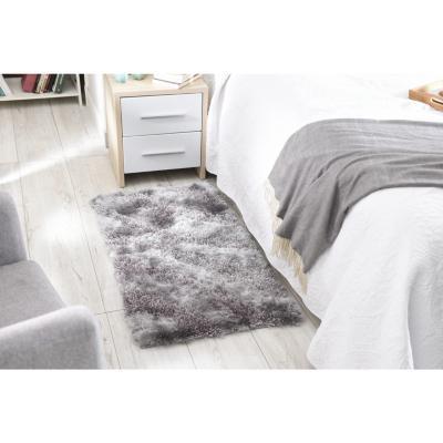 Bajada de cama shaggy ondas 60x110 cm gris