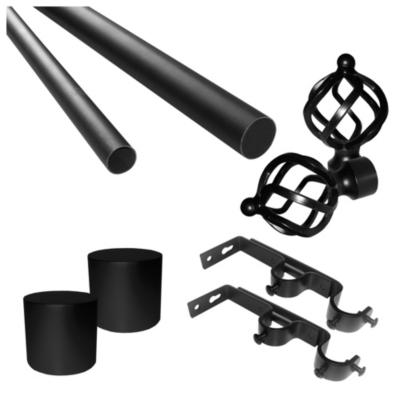 Set de Barra Cortina Doble 28/19 mm 200 cm Negro