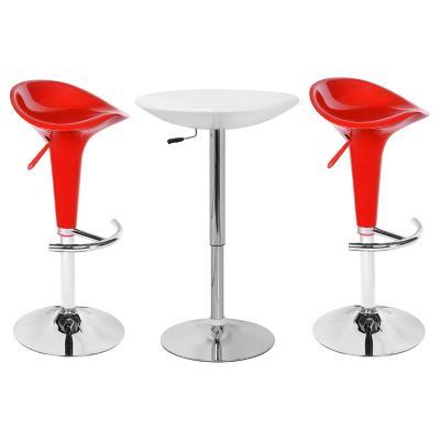 Combo Mesa Bar blanca + 2 Taburetes rojos