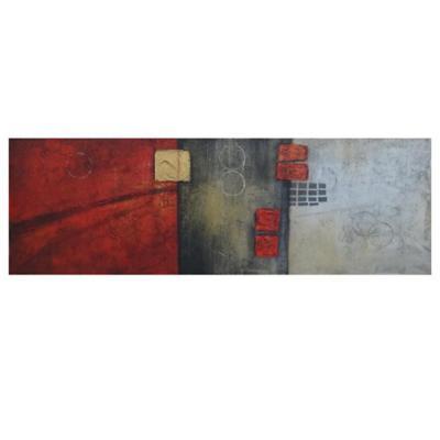 Óleo abstracto tricolor 120x40 cm