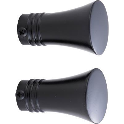 Set de terminales para barra de cortina 19 mm 2 unidades negro