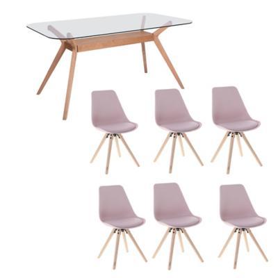 Juego de comedor Crystal 6 sillas Hammel rosado