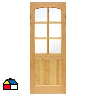 Puerta Pino Oregón 2 Paneles 6 Vidrio 75 x 200cm con vidrio
