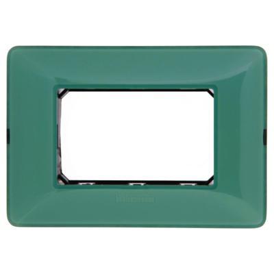 Placa 3 módulos con soporte Verde