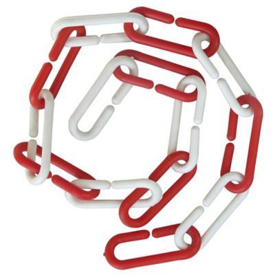 Cadena plástica 1 m rojo blanco