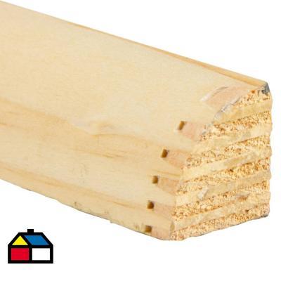 """1""""x1"""" x 240 cm Moldura 1/4 rodón pino cepillado"""