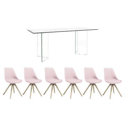 Juego de comedor Vidrio 6 sillas Hammel rosado