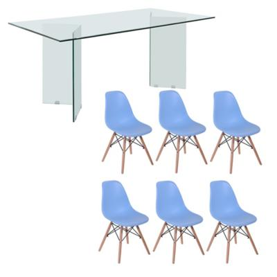 Juego de comedor Vidrio 6 sillas Badem turquesa