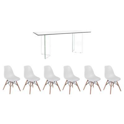 Juego de Comedor Vidrio 6 sillas Badem blanco