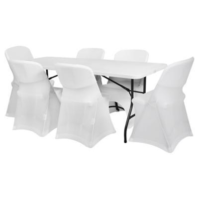 Combo Mesa plegable + 6 sillas con fundas