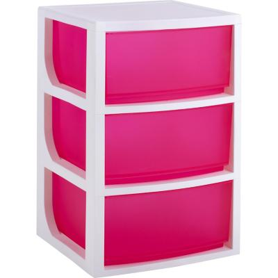Gavetero plástico 70x50x50 cm 3 cajones rosado