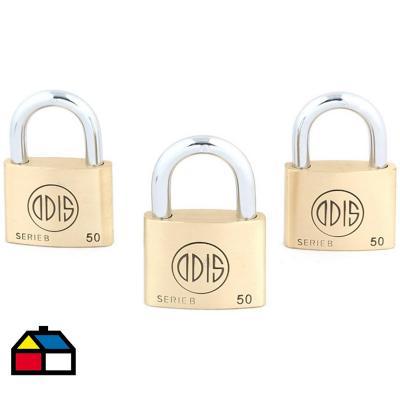Set de candados B50 con llaves iguales 50 mm 3 unidades