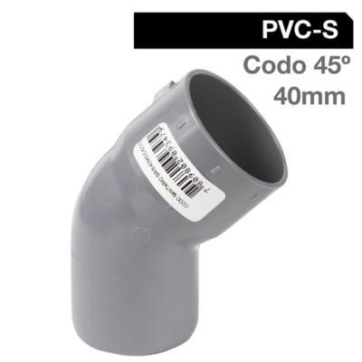 Codo 45o PVC-S Cementar 40mm Gris 1u