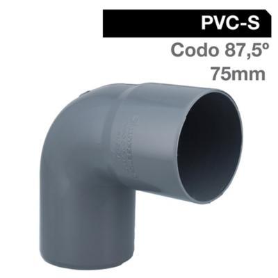 Codo 87,5o PVC-S Cementar 75mm Gris 1u
