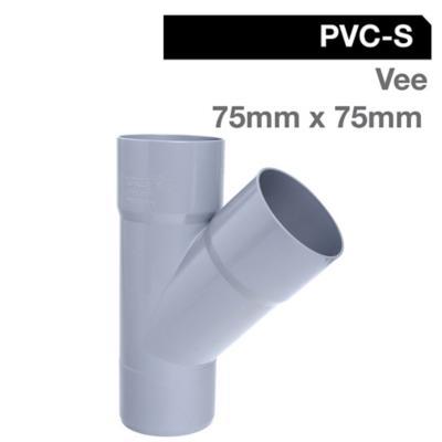 Vee PVC-S Cementar 75mm x 75mm Gris 1u