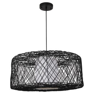 Lámpara de colgar Metal Cordel Negro