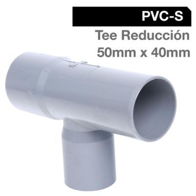 Tee Reducción PVC-S Cementar 50mm x 40mm Gris 1u