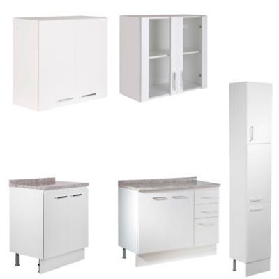 Proyecto Muebles de Cocina Bianco, 5 Módulos, Ancho Total 210 cm.