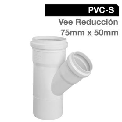 Vee Reducción PVC-S Bco c/goma 75mm x 50mm Blanco 1u