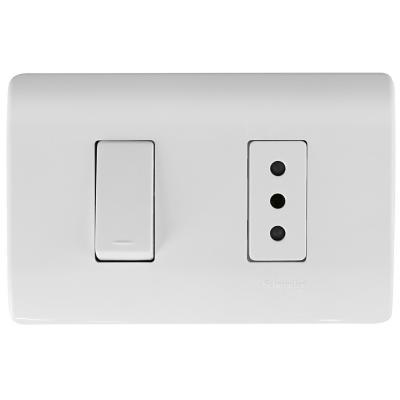 Interruptor 9/12 y tomacorriente 10 A Blanco