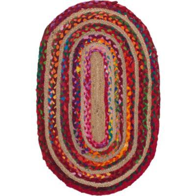 Bajada de cama jute ovalada  50x80 cm multicolor