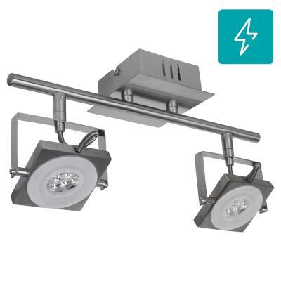 Barra Cuadro 2L led metal y vidrio gris