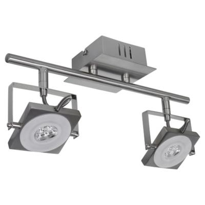 Apliqué Cuadro 2L led metal y vidrio gris