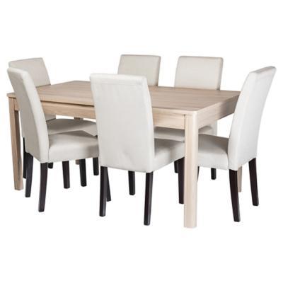 Combo Mesa comedor Dakota + 6 sillas Andres Beige