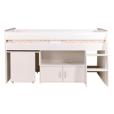 Cama 1,0 plaza 183x206x185 escritorio multifuncional blanca