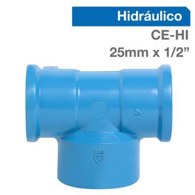 "Tee Trans PVC-P CE/HI 25mm x 1/2"" 1u"