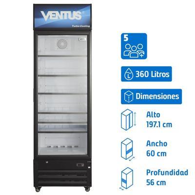 Visi-Cooler 1 puerta 360 litros negro