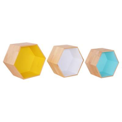 Set de repisas hexagonales pino 38x43 cm 3 unidades