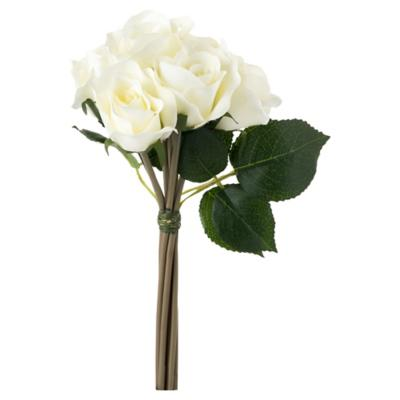 Rosa artificial 26 cm blanco