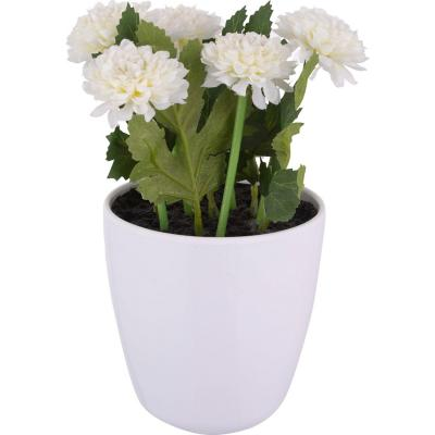Crisantemo artificial 24 cm Blanco con macetero